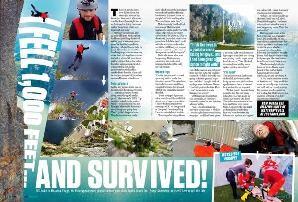 Survivor. Man falls 1000ft and survives
