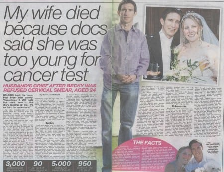 wife too young for smear test dies