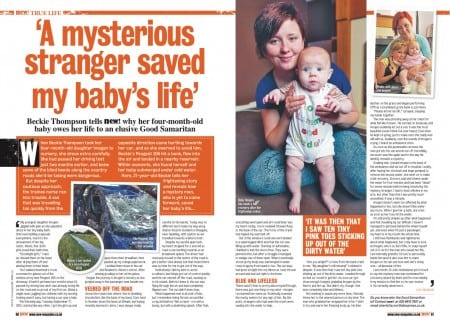 A mysterious hero stranger gave baby Imogen CPR and then disappeared.  Mum Beckie would love to say thankyou.