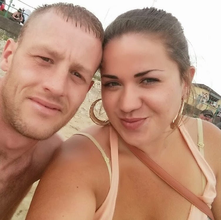 Laura Duncan, and Daniel Bell in the early days of their relationship, 2014, at South Shields beach