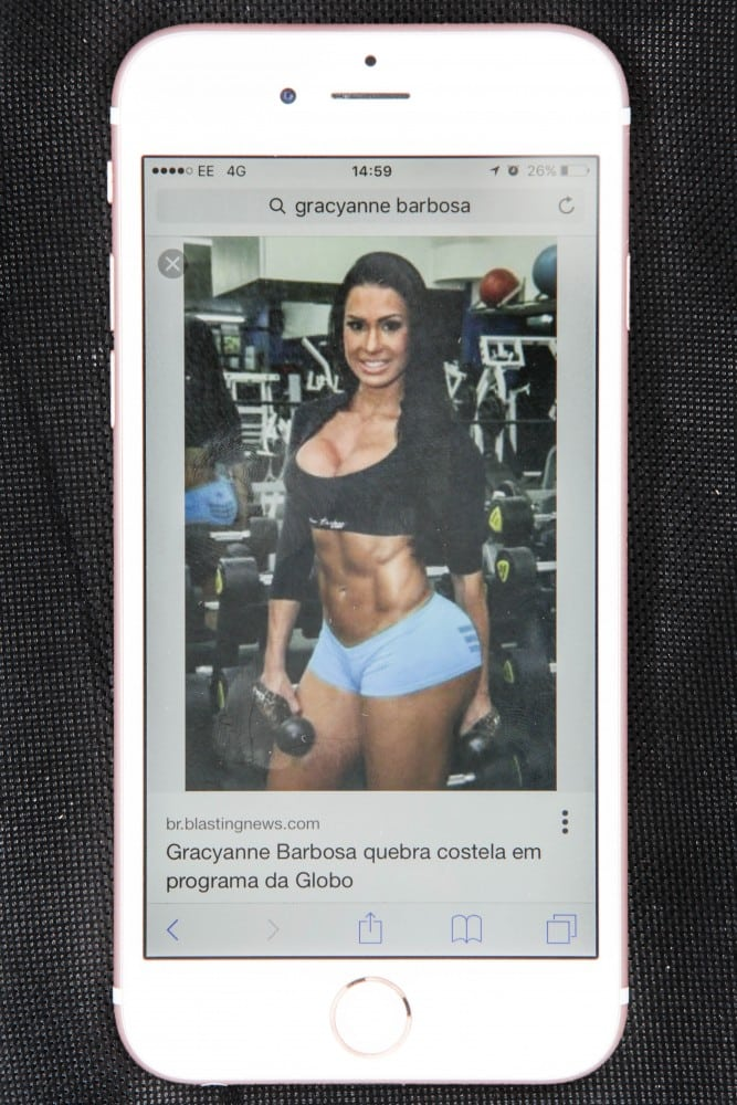 Picture on the phone of Gemma Doherty of Gracyanne Barbosa the fitness guru who Gemma Doherty, 30, was body shamed into mimicking by her former partner Mohammed Anwaar who was jailed under newly drafted laws that make it a crime to control people after he subjected her to nine months of horrendous abuse. See Ross Parry Copy RPYBRUTE : A caged yob who forced his former partner to train up so had shredded abs and a large bum like fitness guru Graceyanne Barbosa has spoken out about her torturous ordeal. Poor Gemma Doherty, 30, was forced to eat 50 cans of Tuna a week and run on a treadmill every day to meet the demands of her obsessive ex-boyfriend Mohammed Anwaar. Vile Anwaar beat Gemma black and blue, while controlling what she wore, what she ate and who she spoke to. Anwaar was jailed yesterday (Weds) to the relief of Gemma who says has finally been brought back into the real world.
